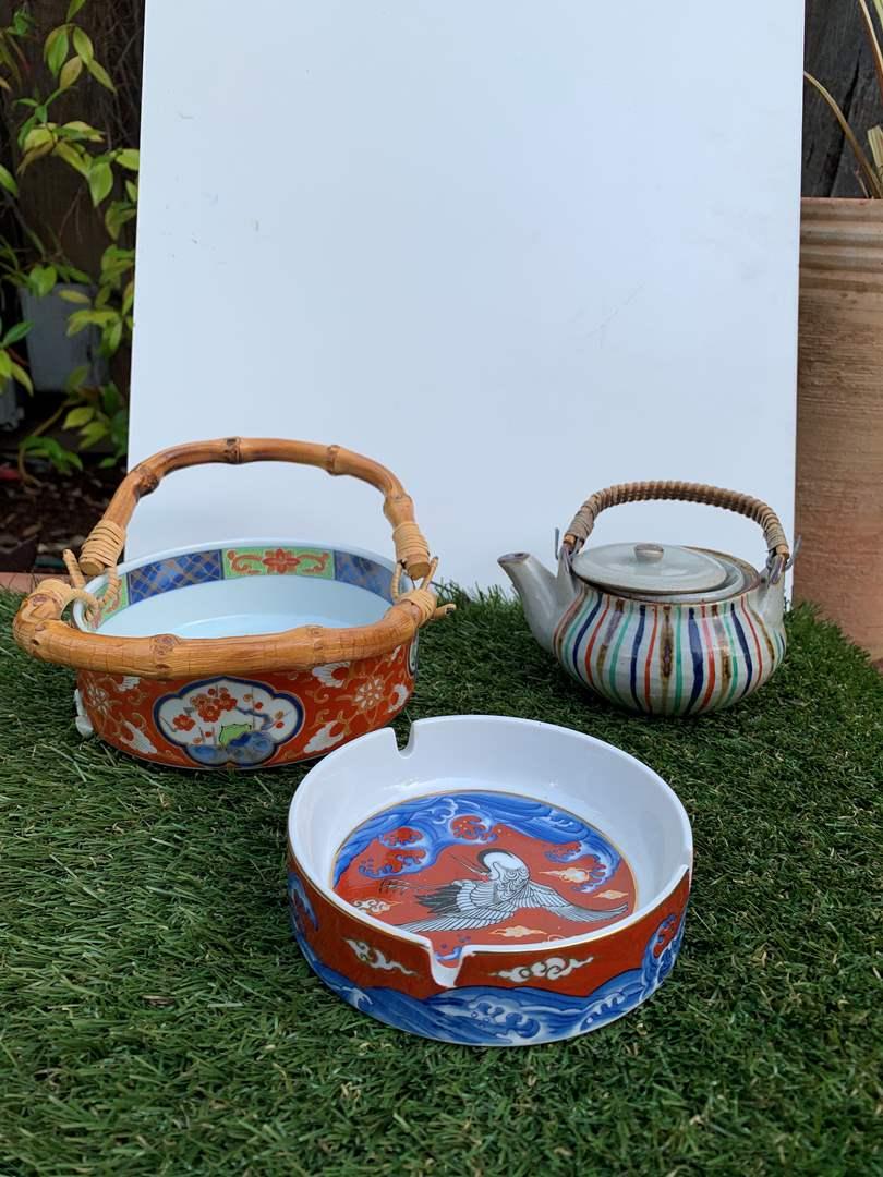 Lot # 140 Vintage Asian Tea Pot/Ashtray/Serving Bowl (main image)