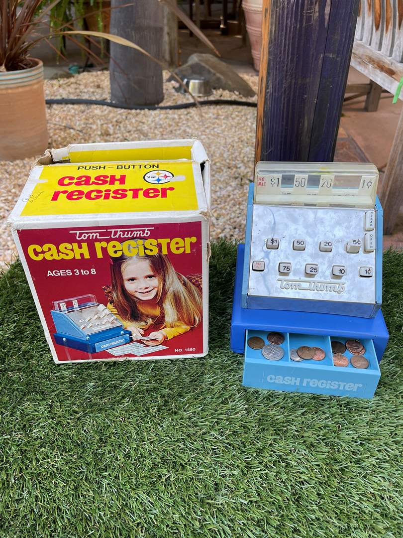 "Lot # 105 Vintage "" Tom Thumb"" Toy Cash Register (main image)"