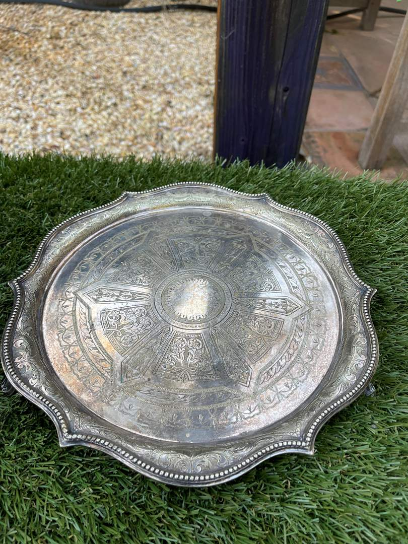 Lot # 70 Antique Silver Plate Round Scalloped Etched Tray w/ Hallmarks (main image)