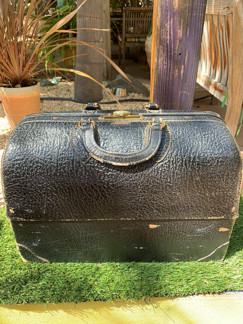 Lot # 181 Antique Leather Doctor's Bag Steampunk by Emdee Schell  (main image)