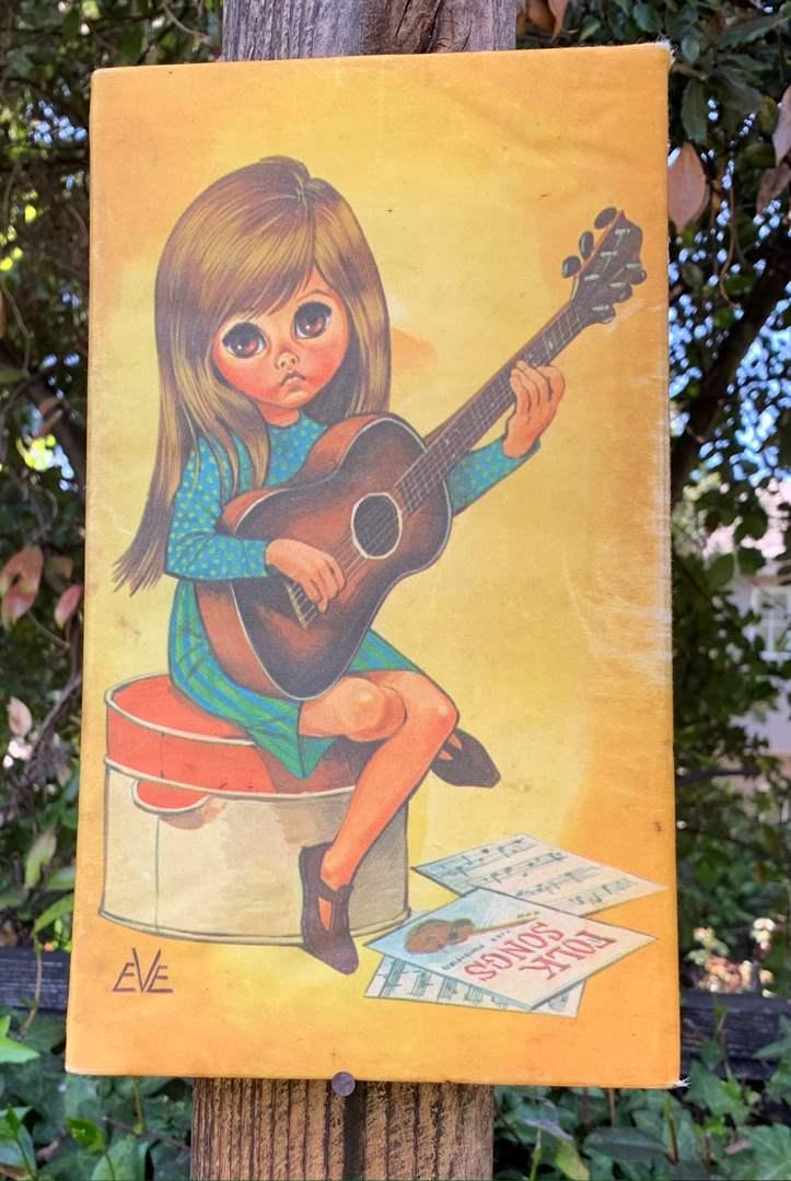 Lot # 114 Vintage Big Eye Girl 1960s Art Print Eve Guitar Player Mod Musician Kitsch Home Decor (main image)