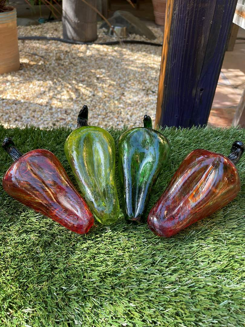 Lot # 80 Hand Blown Glass Chili Peppers (main image)