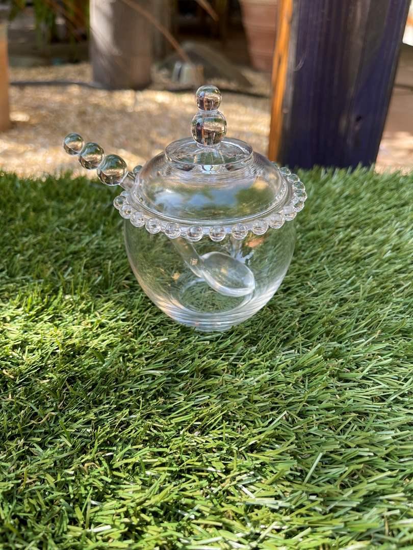 Lot # 165 Vintage Crystal Glass Beaded Honey Jar (main image)