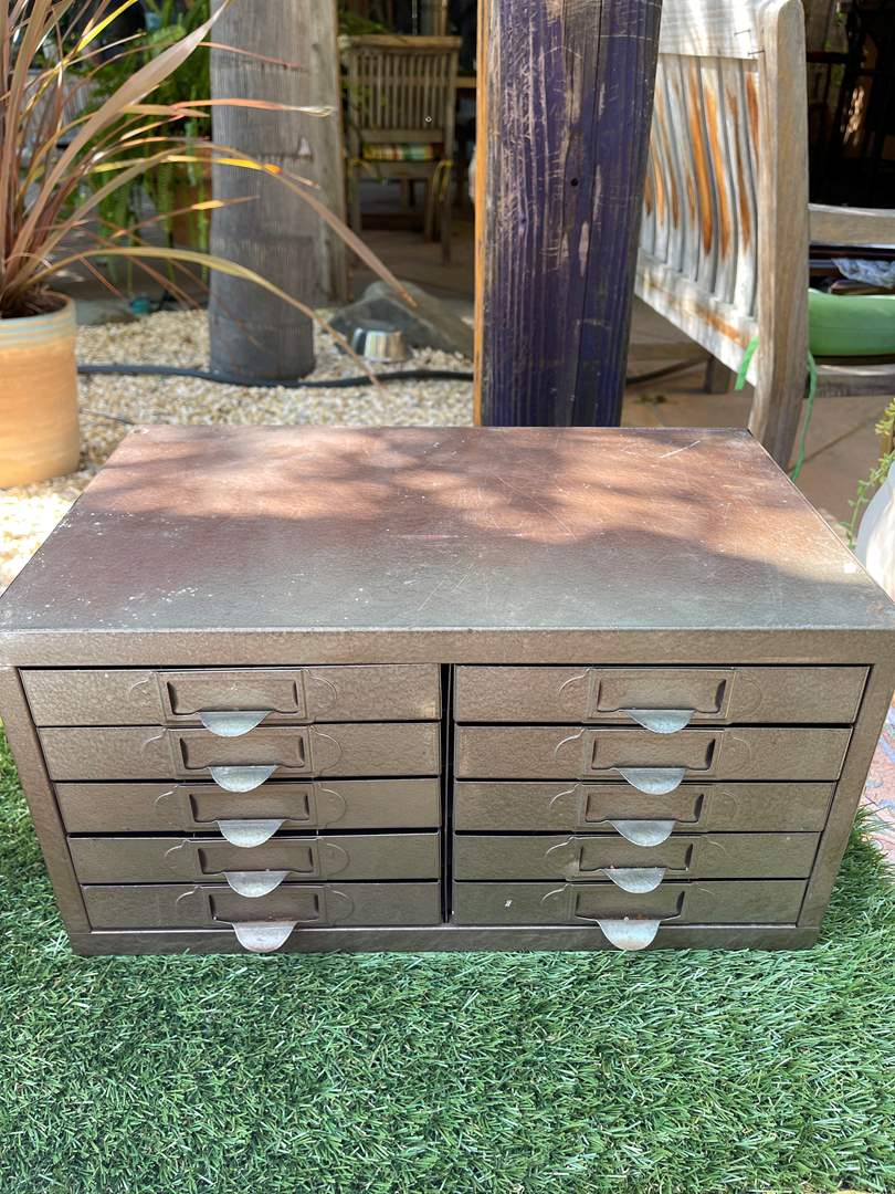 Lot # 190 Metal Box with Drawers - slotted (main image)