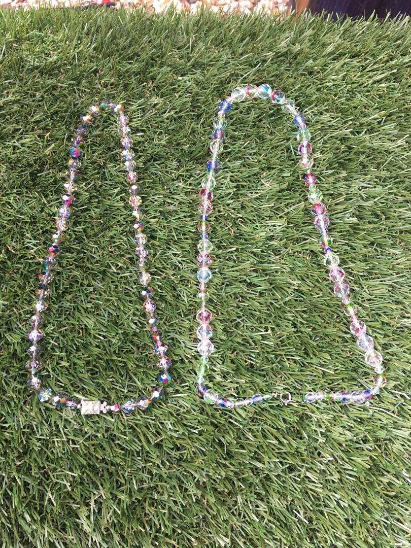 Lot # 199 Clear Glass and Rainbow Vintage Glass Bead Necklaces (main image)