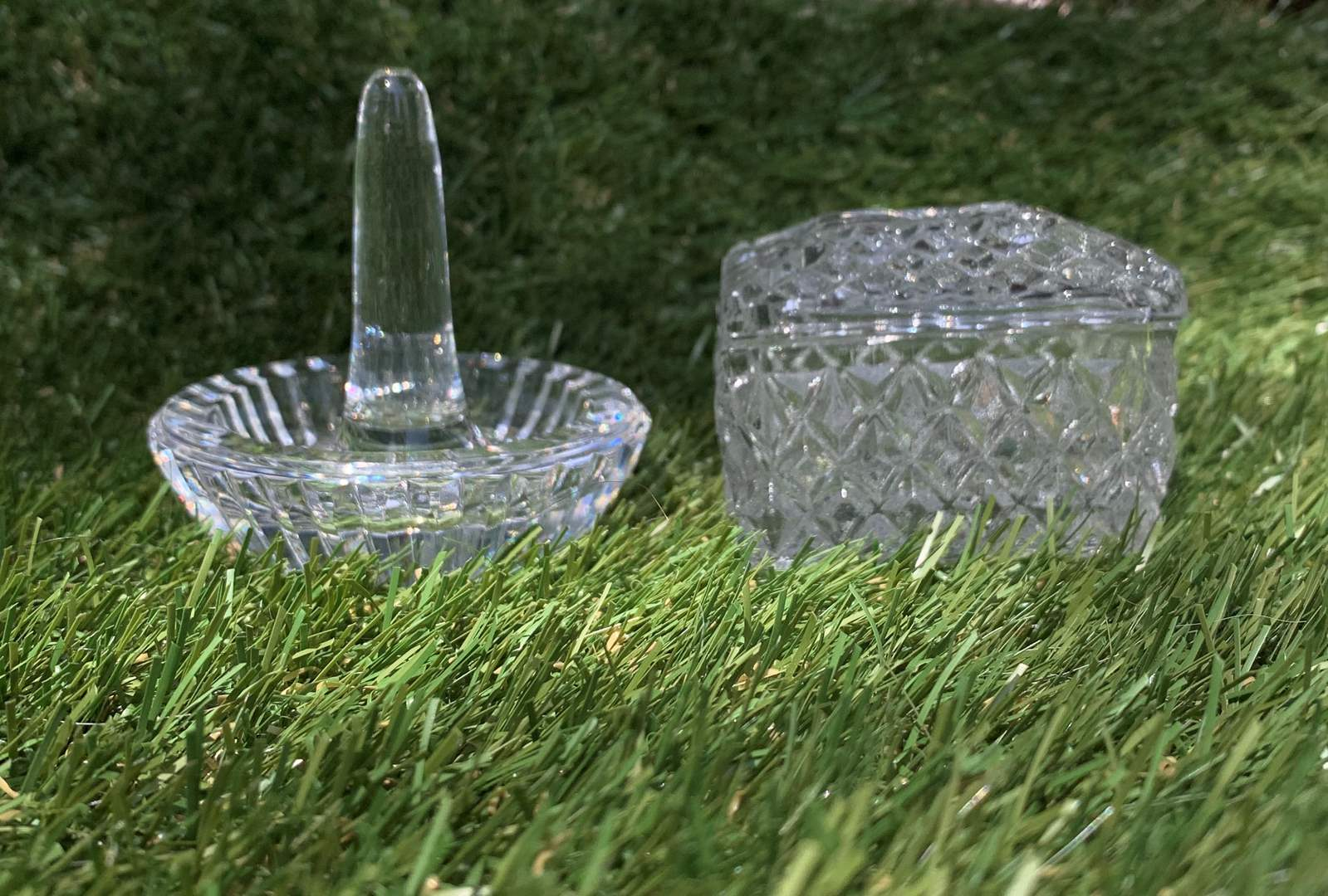 Lot # 34 Lead Crystal Ring Holder and Trinket Box (main image)