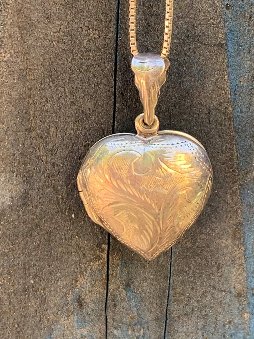 Lot # 36 Vintage STERLING Heart Locket  (main image)
