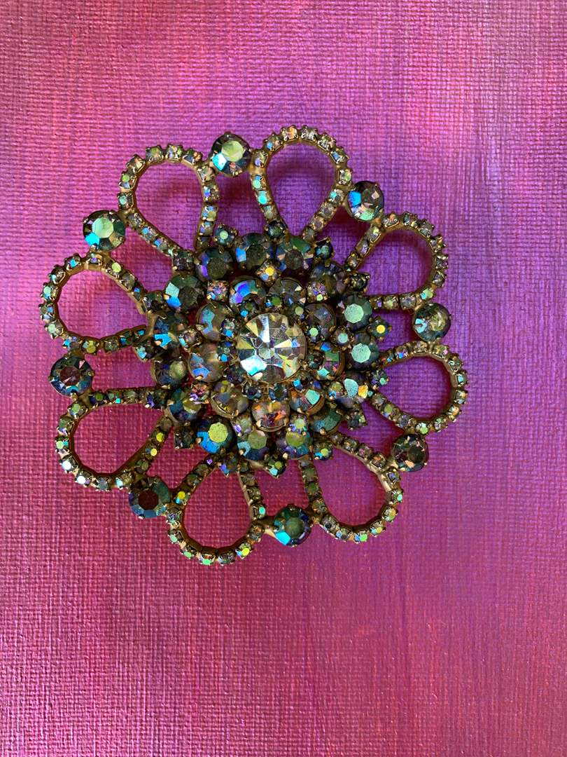 Lot # 37 Iridescent Floral Brooch (main image)