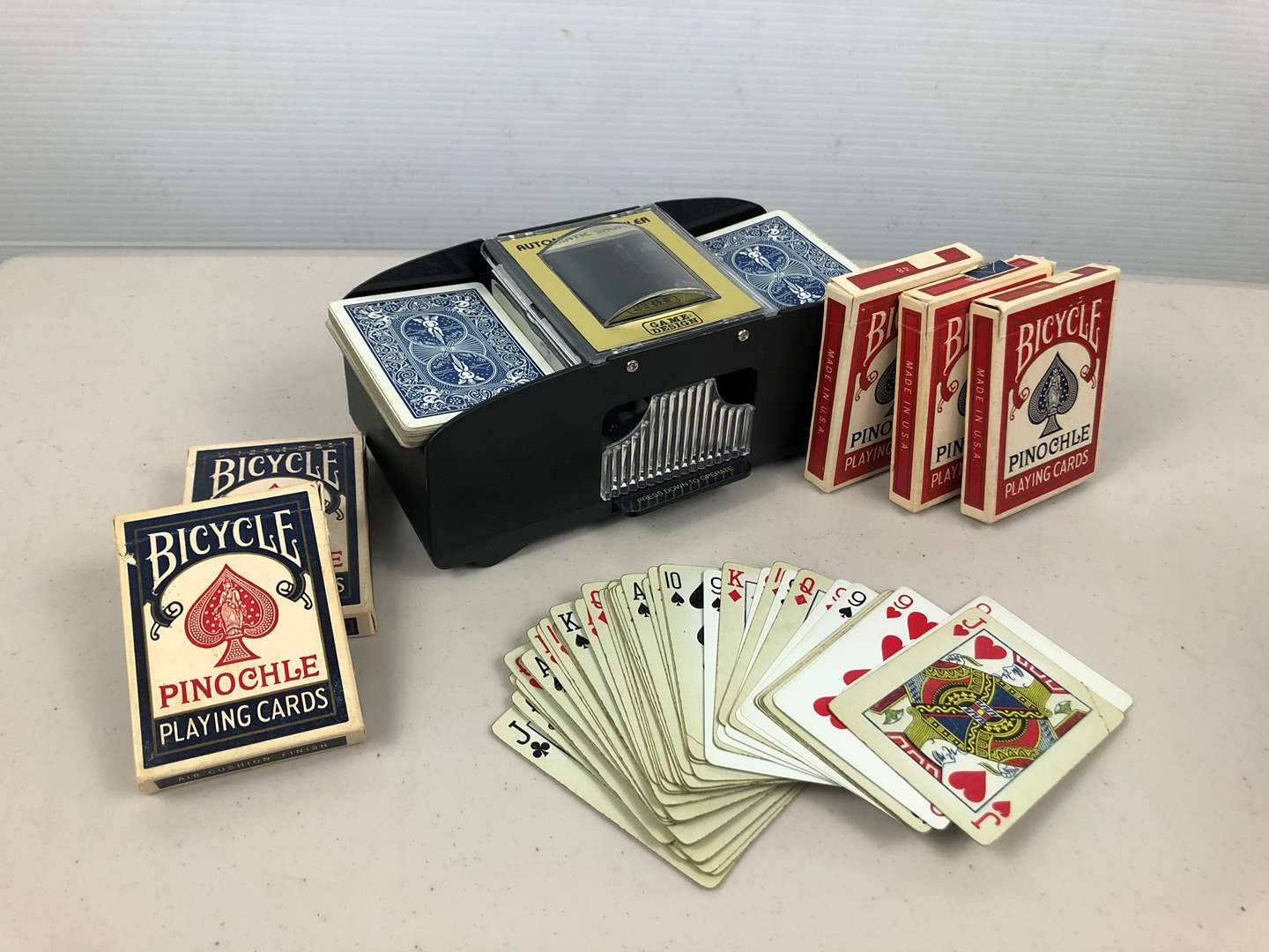 Lot # 221 Battery Operated Card Shuffler & 5 Decks of Pinochle Cards (main image)