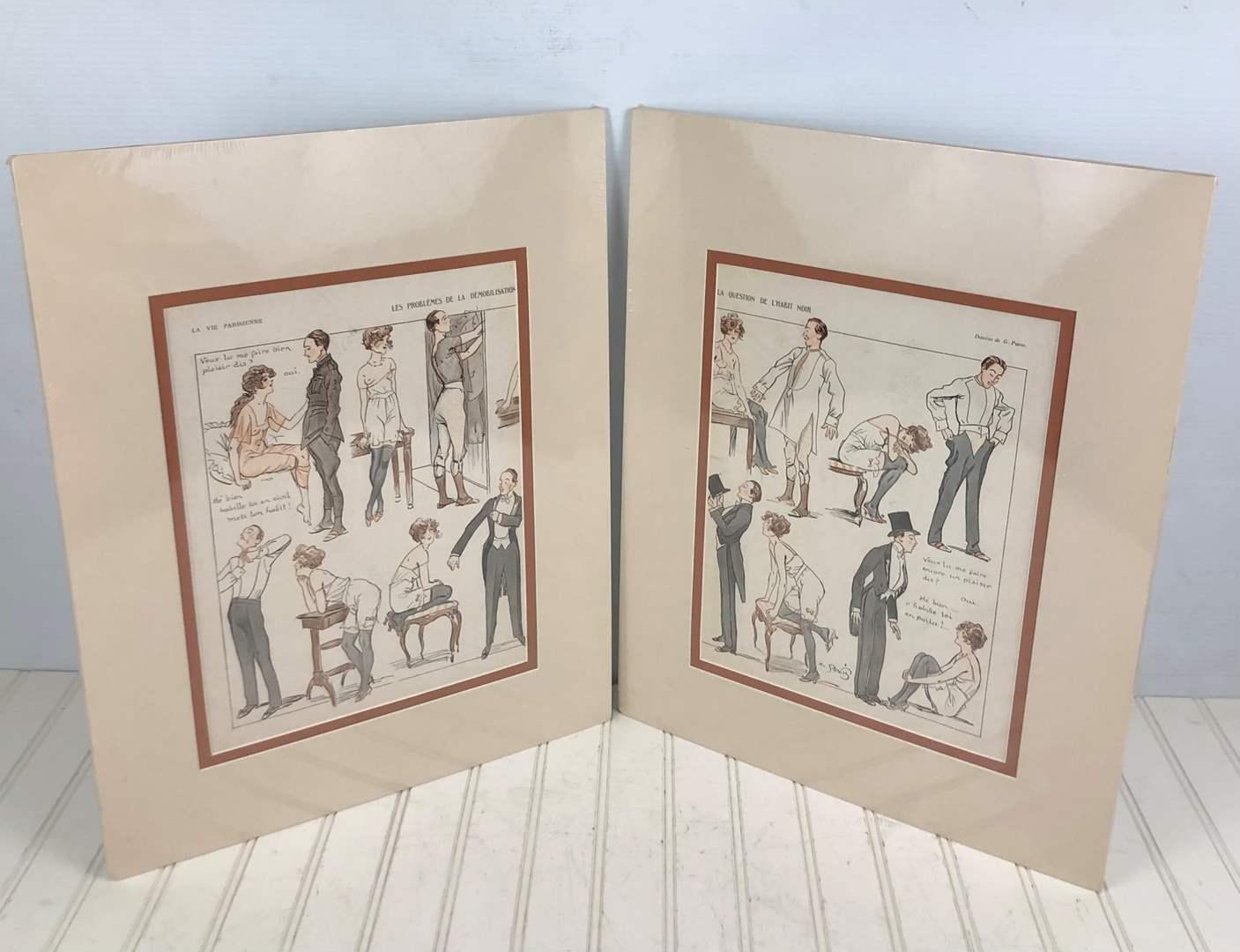 Lot # 236 Vintage George Pavis Art - 2 Matted Pages from La Vie Parisienne Magazine 1920s (main image)