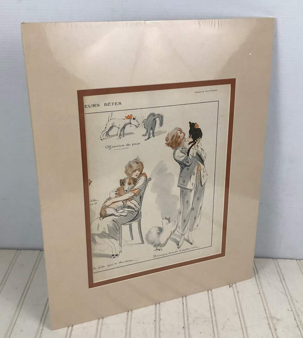 Lot # 238 Vintage Rene Prejelan Art in Matted Frame - Actual Page from Vie De Pariessine Magazine 1920s (main image)