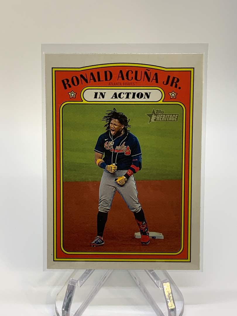 Lot # 44 2021 Topps Heritage RONALD ACUNA JR In Action (main image)