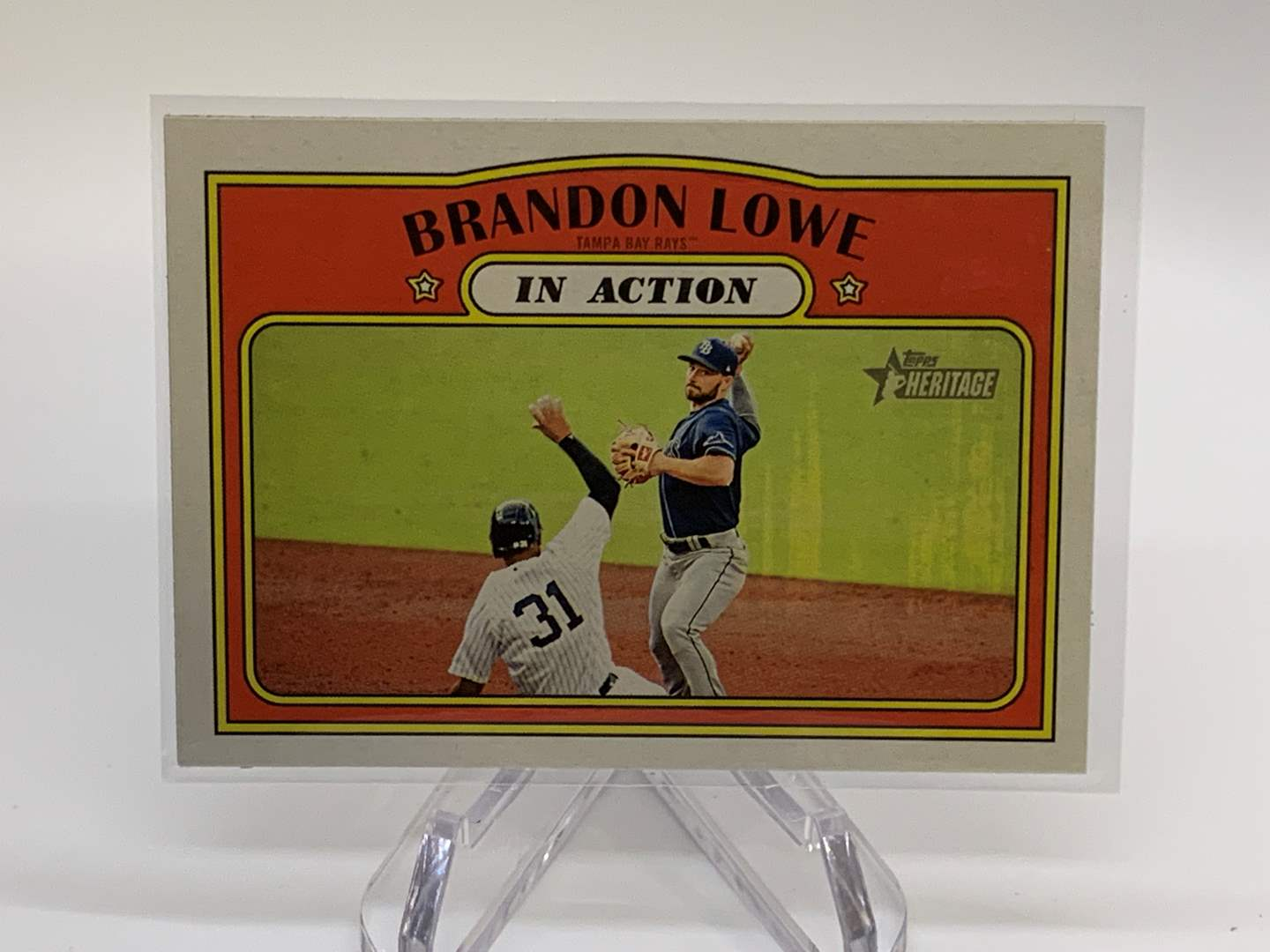 Lot # 50 2021 Topps Heritage BRANDON LOWE In Action (main image)