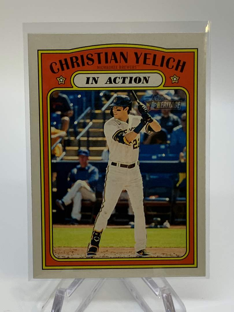 Lot # 58 2021 Topps Heritage CHRISTIAN YELICH In Action (main image)