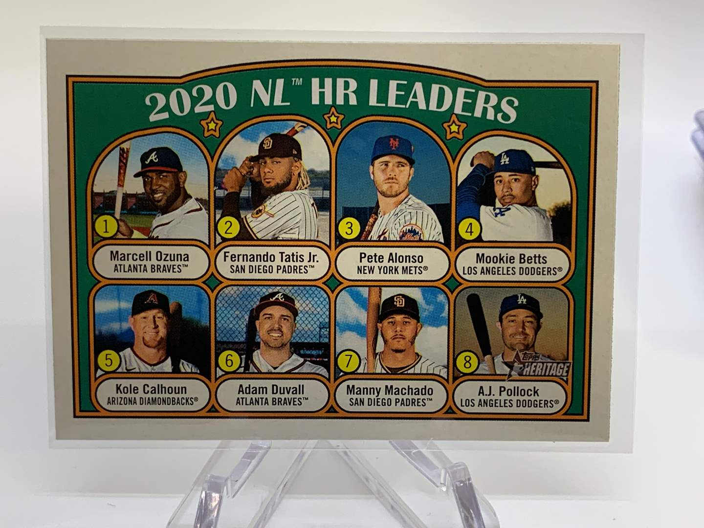 Lot # 68 2021 Topps Heritage 2020 NL HR LEADERS (main image)