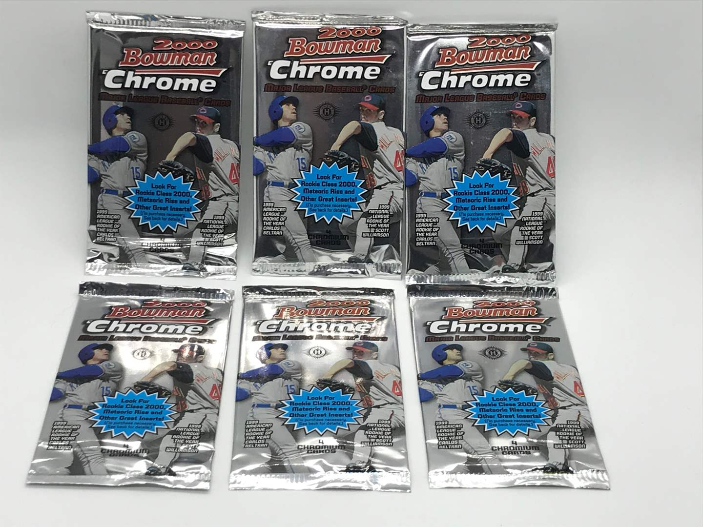 Lot # 62 2000 Bowman Chrome Baseball Packs- Lot of 6 (main image)