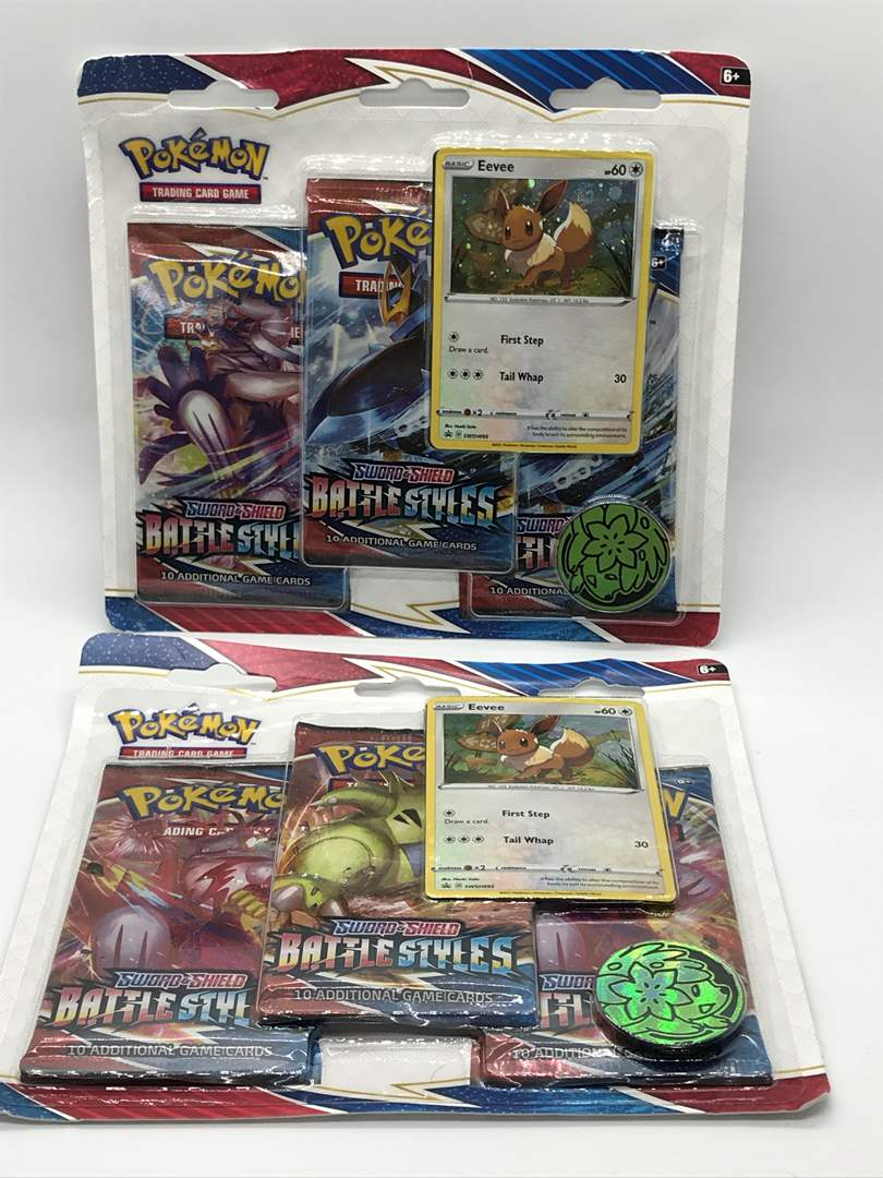 Lot # 64 Pokemon Eevee Sword & Shield BATTLE STYLES Expansion Booster Packs- Lot of 2 (main image)