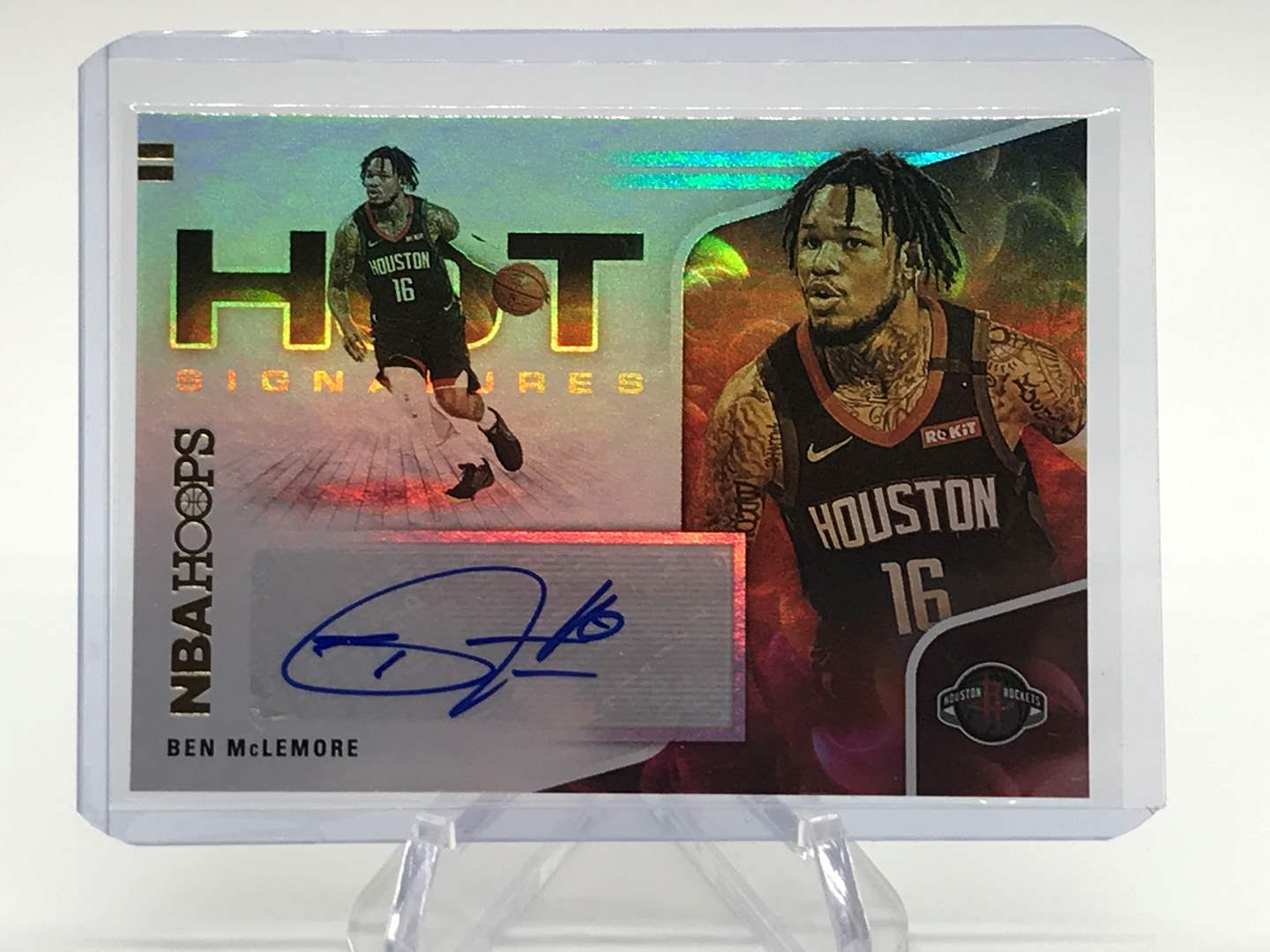 Lot # 154 2020-21 PANINI NBA HOOPS Hot Signatures BEN MCLEMORE (main image)