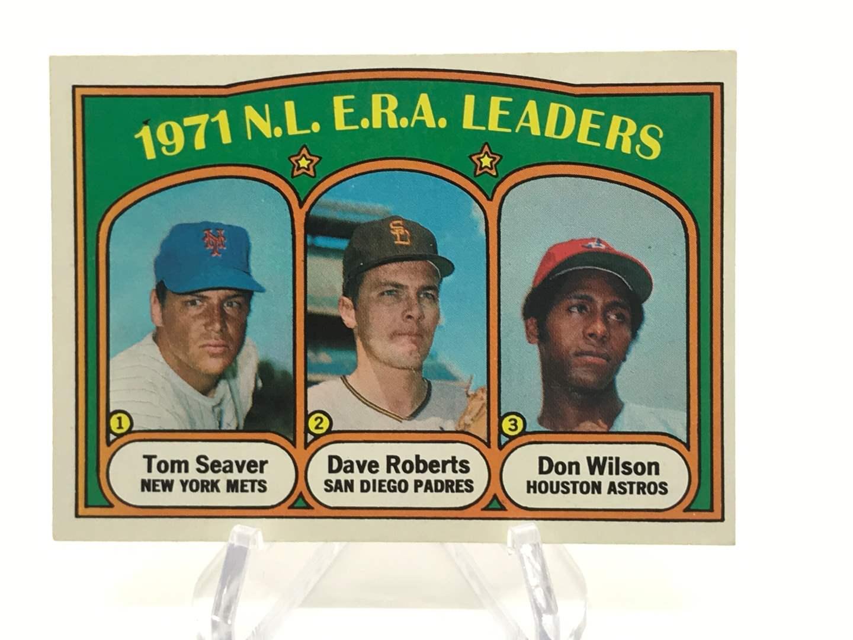 Lot # 328 1972 Topps NL ERA LEADERS TOM SEAVER/DAVE ROBERTS/DON WILSON (main image)