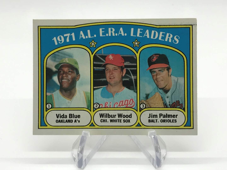 Lot # 329 1972 Topps AL ERA LEADERS VIDA BLUE/WILBUR WOOD/JIM PALMER (main image)
