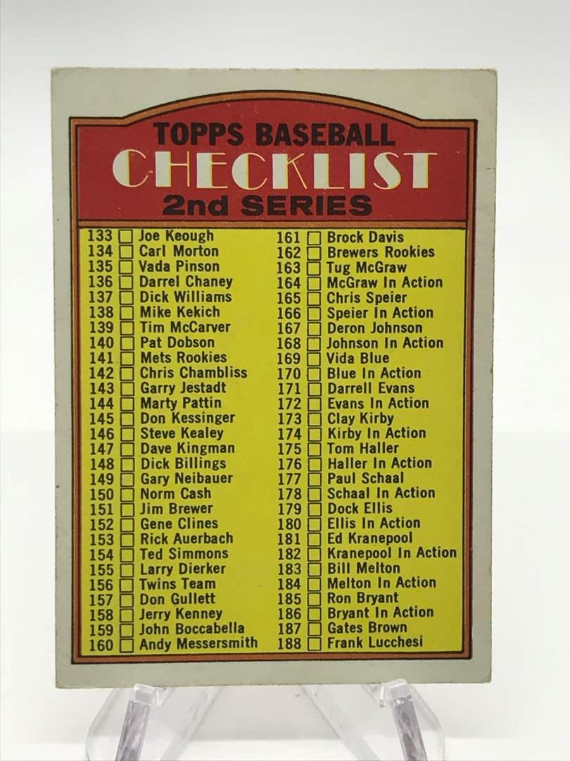Lot # 333 1972 Topps Baseball 2nd Series Checklist (main image)