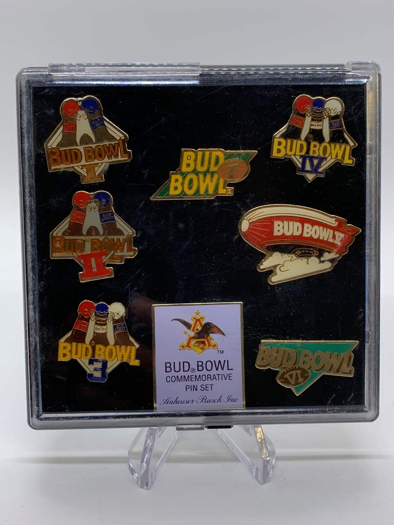 Lot # 107 Bud Bowl Commemorative Pin Set (main image)