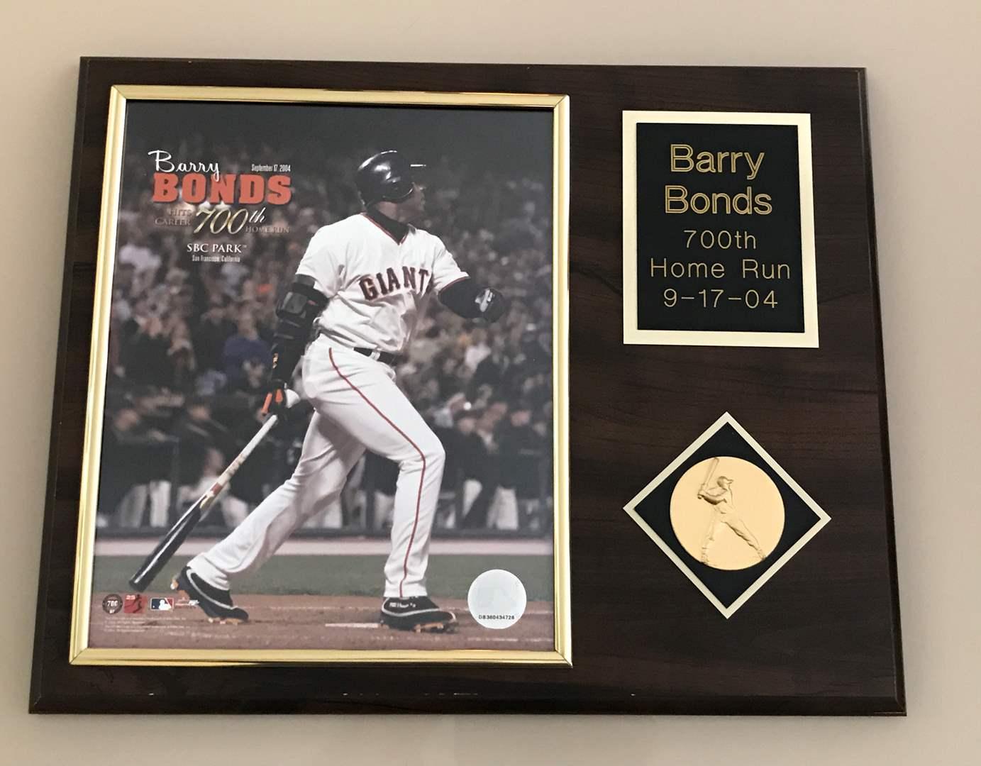 Lot # 65 Barry Bonds 700th Home Run Wooden Plaque (main image)