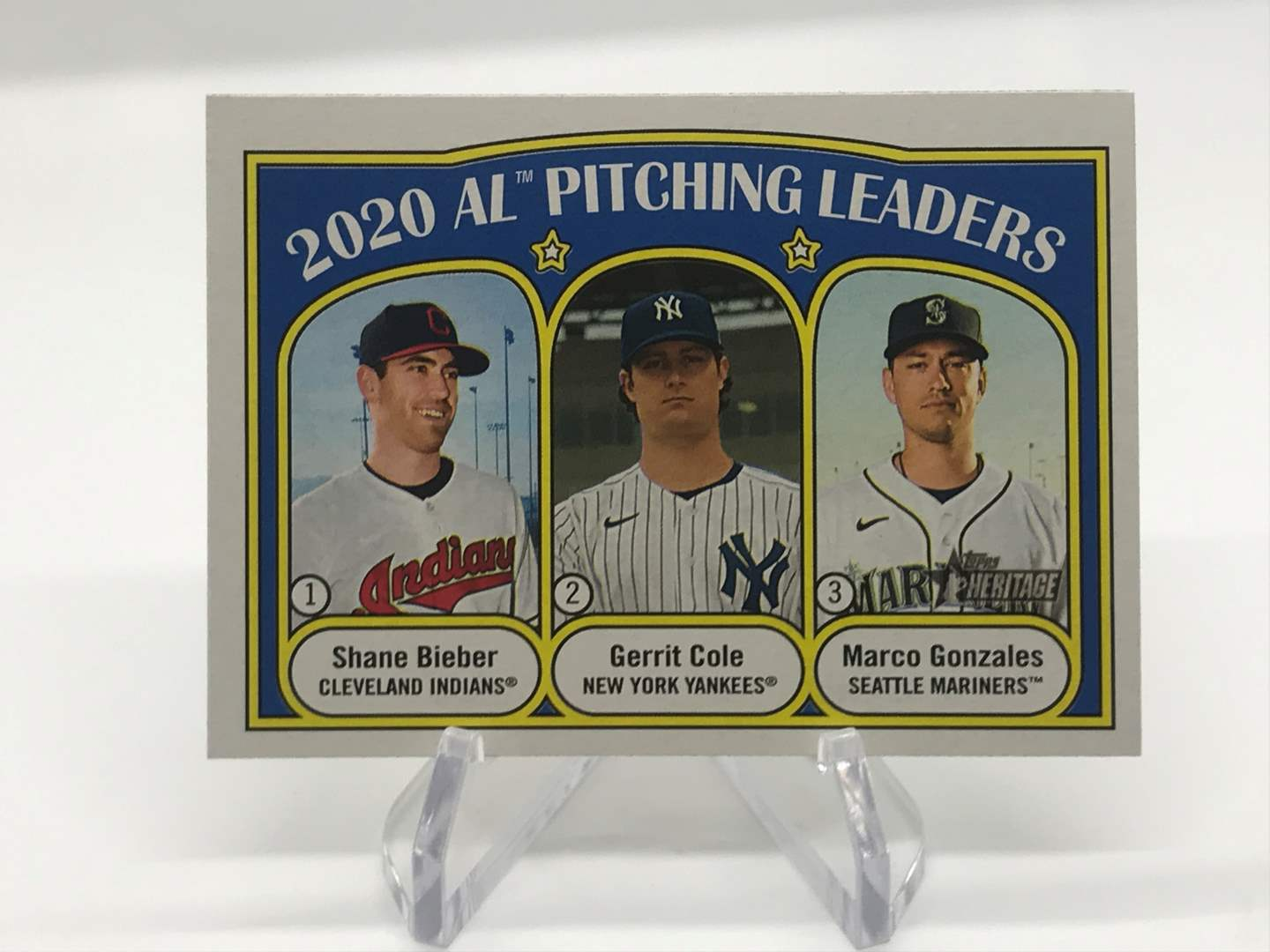 Lot # 217 2021 Topps Heritage Pitching Leaders SHANE BIEBER/GERRIT COLE/MARCO GONZALES (main image)