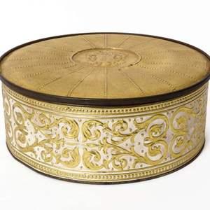 Large Vintage Gold Tin