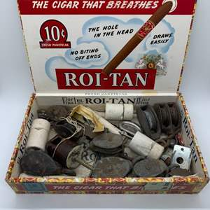 Lot # 2 Cigar Box of Pulleys, Ceramic Insulator, etc