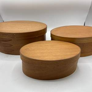 Lot # 9 Nesting Wood Oval Boxes