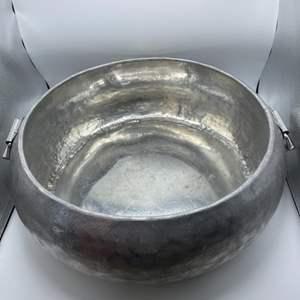 Lot # 16 Large Metal Decor Silver-Tone Bowl