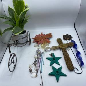Lot # 25 Bicycle Plant Holder and Misc Garden Ornaments
