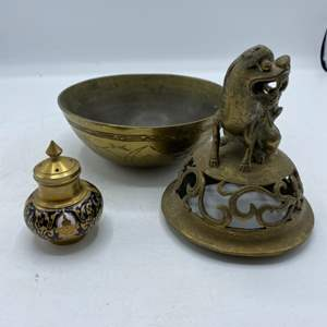 Lot # 29 Lot of Brass Bowl, Asian Cover (No Bottom), and Shaker ?