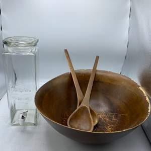 Lot # 38 Large Wood Salad Bowl with Utensils and Glass Dispenser