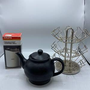 Lot # 41 Lot of Keurig Cup Holder, Ceramic Tea Pot, & Touch-Top Coffee Mill / Grinder