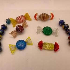 "Lot # 48 Glass Art ""Candy"" (Murano?) and Glass Art Beads"
