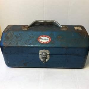 Lot # 56 Vintage Simonsen Blue Metal Tackle Box w/Tackle