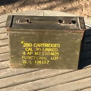 Lot # 68 Vintage  Military Ammo Box 250 Cartridges Cal .30
