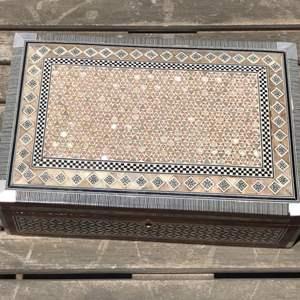 Lot # 90 Desert Designs  Mother of Pearl/Bone Inlaid Trinket Box
