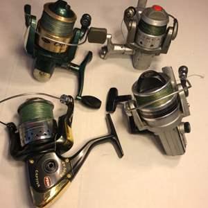 Lot # 92 Fishing Reel Lot Spooled w/ Braided Line-Penn is Missing Handle