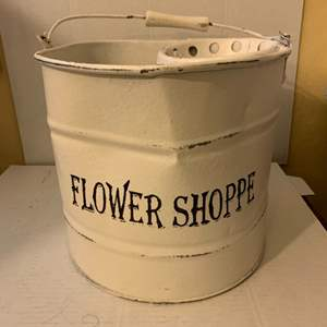 "Lot # 103 Galvanized Bucket (Painted White) ""Flower Shoppe"""