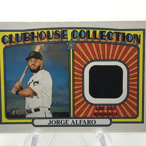 Lot # 225 2021 Topps Heritage Clubhouse Collection Relic JORGE ALFARO