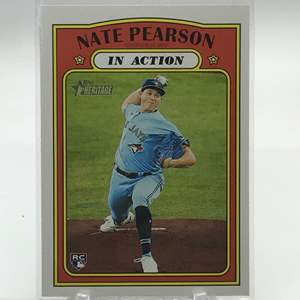 Lot # 230 2021 Topps Heritage In Action Rookie NATE PEARSON