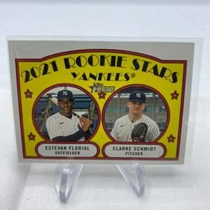 Lot # 120 2021 Topps Heritage ESTEVAN FLORIAL / CLARKE SCHMIDT Rookie Stars Yankees