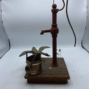 Lot # 10 Water Pump, Bucket, and Bird Garden Ornament