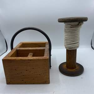 Lot # 14 Wood Carrying Box and Spool