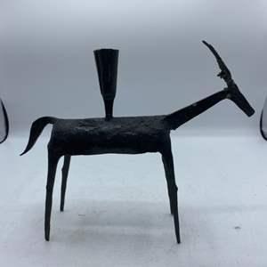 Lot # 15 Iron Goat Candle Holder