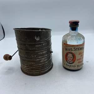 Lot # 17 Vintage Sifter and Mrs Steward Bottle