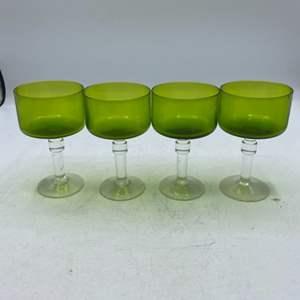 Lot # 39 Lot of 4 Green Glassware